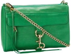 "Price: 	$254.15 | Rebecca Minkoff Mac H045I001 Clutch| Color: Green |     Canvas/Leather,     nylon lining,     zipper closure,     22"" shoulder drop,     8"" high,     11"" wide,     Includes interior back wall zipper pocket and three interior multi-function pockets; Large exterior zipper pocket; Shoulder strap length: 45"",     Made in China,"