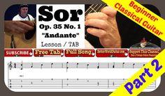 Easy Beginner Classical Guitar Lesson - Fernando Sor Op. 35 No. 1 - Free...
