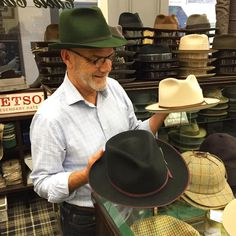 Ed at Cable Car Clothiers San Francisco with new hats for Fall.