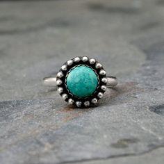 Desert Sky Turquoise Ring Solid Sterling Silver Ring by KiraFerrer on Etsy.