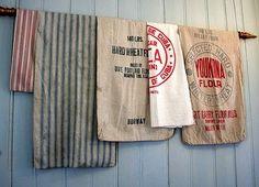 Trendy Ideas For Farmhouse Style Art Grain Sack Flour Sack Towels, Tea Towels, Flour Sacks, Farmhouse Curtains, Kitchen Curtains, Country Decor, Rustic Decor, Country Living, Country Style