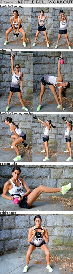 30 minute kettle bell workout Set your interval timer for 30 rounds of 40 seconds of work and 20 seconds of rest. You'll go through the following sequence five times: (1) Kettlebell Swings (2) Windmills - left (3) Windmills - right (4) Kettlebell Swing Punches (5) Russian Twists (6) Goblet Squats.