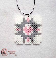 Portal 2 Companion Cube Necklace Bead Sprite Perler Art