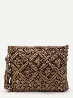 Shop Crochet Clutch Bag With Tassel online. SheIn offers Crochet Clutch Bag With… Shop Crochet Clutch Bag With Tassel online. SheIn offers Crochet Clutch Bag With Tassel & more to fit your fashionable needs. Macrame Design, Macrame Art, Macrame Projects, Macrame Knots, Crochet Clutch Bags, Crochet Handbags, Crochet Purses, Micro Macramé, Macrame Patterns