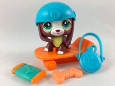 Littlest Pet Shop RARE Brown Red White Beagle #849 w/Helmet, Scooter Accessories #Hasbro