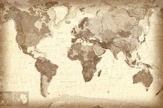 Vintage Style World Map Poster Premium Poster at AllPosters.com