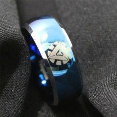 Blue Ironman Superhero Polished Tungsten Ring