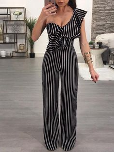 Stripes Ruffled One Shoulder Casual Jumpsuit Casual Jumpsuit, Striped Jumpsuit, Black Jumpsuit, Long Jumpsuits, Jumpsuits For Women, Look Fashion, Fashion Outfits, Womens Fashion, Fashion Ideas