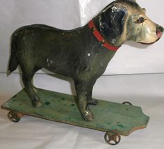 c 1880  PAPER MACHE DOG  on platform original French PULL TOY 16