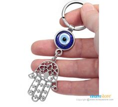 Hamsa Hand Keychain with Evil Eye