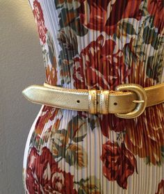 Vintage Gold Leather Belt Size Small by BarbeeVintage on Etsy
