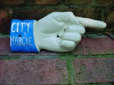 CITY MORGUE SIGN cast iron hand directional