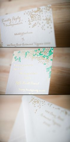 emerald letterpress + gold foil by Smock
