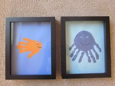 Love this idea! Framed handprint art is perfect for a dad who loves the beach :) @Crystal (APumpkinAndAPrincess.com)