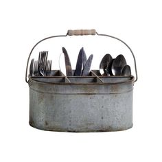 Made of tin, the Farmhouse Kitchen Caddy makes a helpful companion for you and your family. Whether you decide to fill the six compartments with a flower arrangement or use it for storing silverware, t...  Find the Farmhouse Kitchen Caddy, as seen in the Our Rustic Thanksgiving Collection at http://dotandbo.com/collections/styleyourseason-our-rustic-thanksgiving?utm_source=pinterest&utm_medium=organic&db_sku=CCO0347