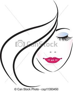 Vector - Face of pretty woman silhouette - stock illustration, royalty free illustrations, stock clip art icon, stock clipart icons, logo, line art, EPS picture, pictures, graphic, graphics, drawing, drawings, vector image, artwork, EPS vector art