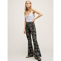 Born to be Wild Printed Pant ($100) ❤ liked on Polyvore featuring pants, high waist pants, high-waisted pants, retro high waisted pants, stretchy pants and flare leg pants