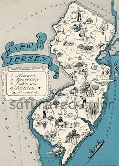 New Jersey Map Vintage  Map Art  High Res  by SaturatedColor