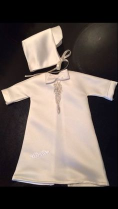 """My sisters new boys Angel Gown & we tossed around the idea for some time now of how can we modify the bonnet to get a brim on it for a more """"boy look"""" well sissy Sherry pulled it off! Too cute!!"""
