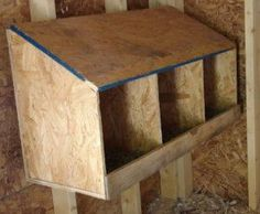 """Often a roost bar or step is added in front of the box to give the hen a place to jump to before entering the nest box. Also a """"lip"""" is added to the front of the nesting box to keep the bedding material and/or eggs from being pushed out."""
