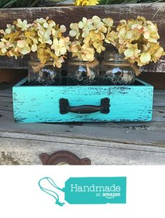 Distressed Mason canning jars in distressed drawer. Centerpiece for a table. Distressing your home on a budget. (affiliate link)