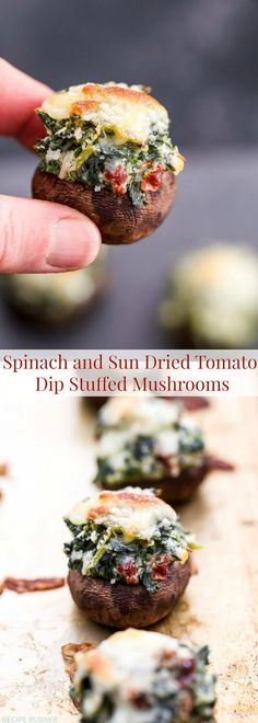 No need for crackers or chips with this dip, stuff a mushroom instead! These Spinach and Sun Dried Tomato Dip Stuffed Mushrooms are packed with flavor and perfect for parties.