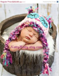 crochet Owl Hat   handmade Dormilona Pink Newborn to by NattyHatty, $22.09