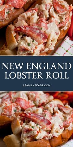 New England Lobster Roll - A Family Feast® Meat Appetizers Appetizers Appetizers keto Appetizers parties Appetizers recipes Lobster Roll Recipes, Fish Recipes, Meat Recipes, Seafood Recipes, Cooking Recipes, Seafood Roll Recipe, Seafood Meals, New Cooking, Cooking Time