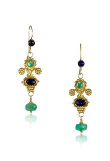 Blue Sapphires & Emerald 18K Gold Mini Bouquet EarringsThese classic earrings are beautiful, colorful and light weight. At the top they have 3 flowers, the larger flower has a 3mm emerald set. Below there is a faceted blue sapphire set, and below hangs a faceted emerald. These are great everyday earrings, but can easily dress up any outfit! Materials: 18K gold, blue sapphires & emeralds 18k Gold Earrings, Drop Earrings, Floral Theme, Large Flowers, Emeralds, Blue Sapphire, Larger, Bouquet, Amp