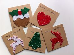 Pack of 5 Mini Handmade Christmas Cards with by RaspberryAndThyme, £6.50