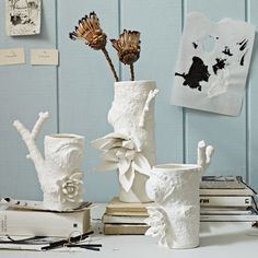 Ceramic Matters Branch Vases | west elm I wonder if these could be made of actual wood that is sealed and painted.