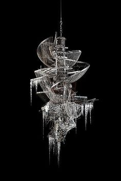 LEE BUL  Sternbau No. 32, 2011  crystal, glass and acrylic beads on nickel-chrome wire, stainless steel and aluminum armature  66.93 x 36.22 x 34.25 inches  170 x 92 x 87 cm