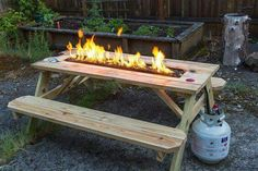 Pin by justin irish on rv camper pinterest picnic tables this fire pit picnic table allows you the opportunity to sit around the table and simply talk and have a good time watchthetrailerfo