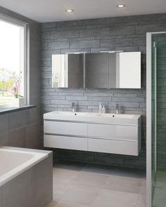 Double cupboards under and above basin Grey Bathrooms, Beautiful Bathrooms, Master Bathroom, Layout, Bathroom Furniture, Bathroom Ideas, Cabinet, Decoration, Double Vanity