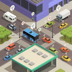 Buy Smart City Traffic Isometric Composition by macrovector on GraphicRiver. Smart city traffic lights assistance technology connecting cars in busy streets intersections isometric composition p. Isometric Map, Isometric Design, Vector Graphics, Vector Free, Modern Logo Design, Graphic Design, Smart City, Traffic Light, Mind Maps