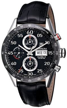Tag Heuer Carrera Automatic Day Date Men's Watch with beautiful black leather strap- Click the Pic for details