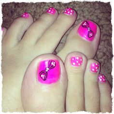 Minnie mouse nails <3 for my baby girl for Disneyland