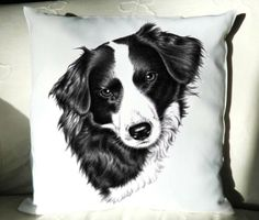 BORDER COLLIE Hündin, Kissenbezug 40x40 cm von Arts & Dogs by Nicole Zeug auf DaWanda.com