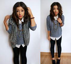 Zara Fur Gillet, Wet Look Leggings, Forever 21 Jumper, Forever 21 Shirt, Forever 21 Necklace