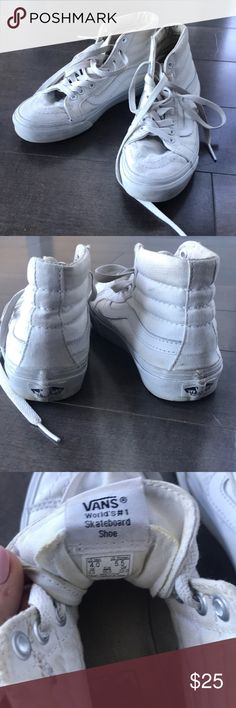 White hi-top vans! Super cool white hi-top vans. A staple in every closet. They do have some wear but can easily be taken out in the wash. Fits true to size. Going through closet, taking offers and bundles:) Vans Shoes Sneakers