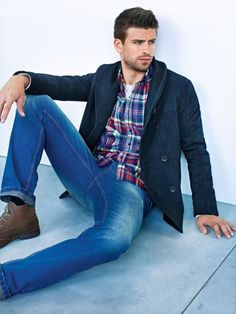 Madras / Plaid button up, wool jacket, weathered blue jeans and brown ankle boots