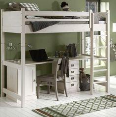 Alta hoogslaper,deelbaar,bureau,bed 90x200cm.,stoel,ladekast,hout,wit 185cm hoog www.theobot.nl Zwaag, N-H