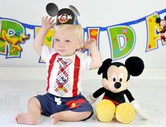 Mickey Mouse Birthday Tie and Suspender Bodysuit with Shorts Baby Boy First Birthday Disney Clothing Birthday Party Little Man Tie Outfit by shopantsypants on Etsy https://www.etsy.com/listing/157265485/mickey-mouse-birthday-tie-and-suspender