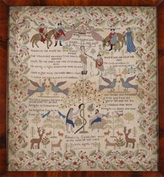 Welsh Sampler made by Elizabeth Evans, aged 14, Pontypridd, 1845 ~ The text makes reference to several different hymns and carols ~ Pontypridd Museum