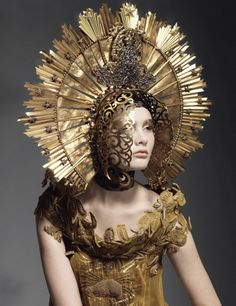 jean paul gaultier - amazing head piece in gold