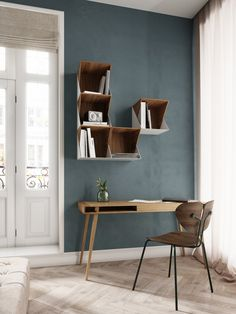 Poet Table by Nordic Tales Flip Shelfs by Nordic Tales Moth Chair by Nordic…