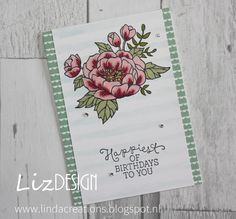 LizDesign Stampin Up Birthday Blooms Card #GDP026