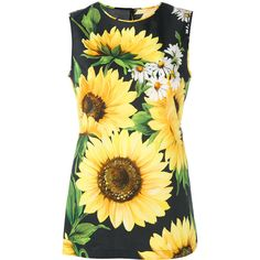 Dolce & Gabbana Sunflower Print Tank Top (36,810 INR) ❤ liked on Polyvore featuring tops, yellow tank, sunflower top, colorful tops, cotton tank and dolce gabbana top
