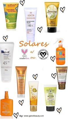 Ideias de produtos solares cruelty free.  cruelty free sunscreens ideas. + no blog...