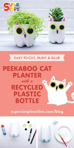 Plastic Bottle Planters Peekaboo Cat planter with a recycled plastic bottle.Peekaboo Cat planter with a recycled plastic bottle. Plastic Bottle Planter, Plastic Bottle Caps, Reuse Plastic Bottles, Plastic Bottle Flowers, Plastic Art, Recycled Bottles, Bottle Bottle, Upcycled Crafts, Recycled Art Projects